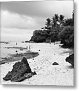 Moalboal Cebu White Sand Beach In Black And White Metal Print
