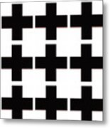 Mod Black And White Swiss Cross Mid Century Modern Design Metal Print