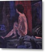 Model In Blue And Red Metal Print