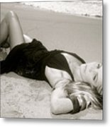 Model On Beach Metal Print