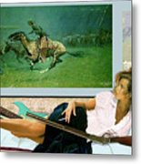 Modeling, Frederick Remingtons, Stampede By Lightning, Advanced Guard Metal Print