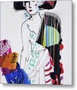 Model With Fashion Hat And Chawl Metal Print