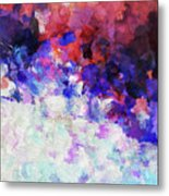 Modern Abstract Painting In Blue Metal Print