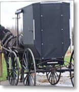 Modern Amish Horse And Buggy Metal Print