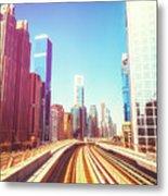 Modern Architecture Of Dubai Seen From A Metro Car. Metal Print