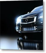 Modern Black Metallic Sedan Car In Spotlight. Banner Metal Print