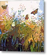 Modern Chamomille And Butterflies Metal Print