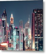 Modern City Architecture By Night. Dubai. Metal Print