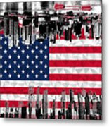 Modern City Scape American Flag Metal Print