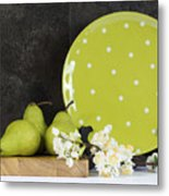 Modern Green And White Polka Dot Kitchen Metal Print