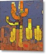 Modern Saguaro - Red Metal Print