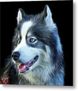 Modern Siberian Husky Dog Art - 6024 - Bb Metal Print