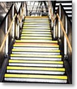 Modern Subway Steps In London Canary Wharf District Metal Print
