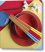 Modern Take On Traditional Japanese Oriental Place Setting Metal Print