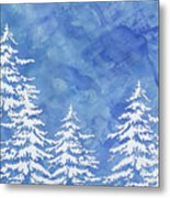Modern Watercolor Winter Abstract - Snowy Trees Metal Print