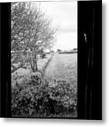 modern window looking out onto rural fields in the lake district Cumbria England UK Metal Print
