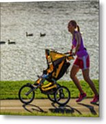 Moher And Child Jogging Metal Print