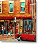 Moishes Steakhouse On The Main By Montreal Streetscene Painter Carole  Spandau  Metal Print
