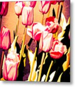 Molten Gold Tulips Metal Print
