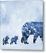 Mom And Baby Bears-blue Metal Print