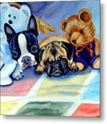 Mom Can She Stay Over - Pug And Boston Terrier Metal Print by Lyn Cook