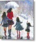 Mom Three Daughters Rain Metal Print