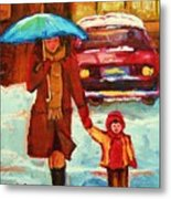 Moms Blue Umbrella Metal Print