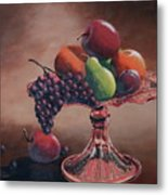 Mom's Pink Dish With Fruit Metal Print