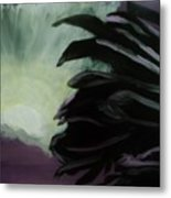 Moon Behind The Palm Tree Metal Print