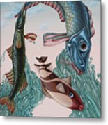 Mona Lisa. Water Metal Print
