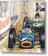 Monaco Gp 1964 Brm Brabham Ferrari Metal Print by Yuriy  Shevchuk