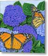 Monarch Butterflies And Hydrangeas Metal Print