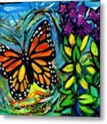 Monarch With Milkweed Metal Print