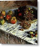 Monet Claude Still Life Apples And Grapes Metal Print