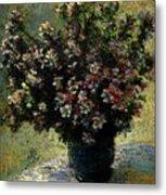 Monet Claude Vase Of Flowers Metal Print