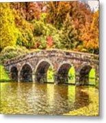 Monetcalia Catus 1 No. 9 - Monet Decides To Paint The Arched Bridge At Stourhead. L A S Metal Print
