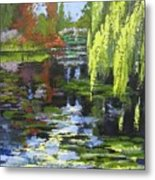 Monets Garden Painting Palette Knife Metal Print