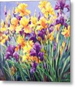 Monet's Iris Garden Metal Print