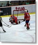 Mongolia Team Players Defend Goal Vs Malaysia In Ice Hockey Match In Rink Bangkok Thailand Metal Print