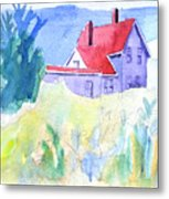 Monhegan Light And Hill Metal Print