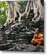 Monk At Preah Palilay Temple Metal Print