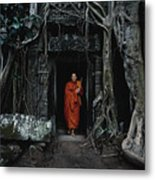 Monk At  Ta Prohm Temple  Metal Print