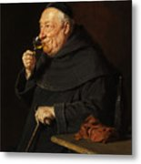 Monk With A Wine Metal Print
