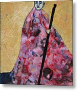 Monk With Walking Stick Metal Print