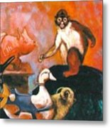 Monkey And Toys Metal Print