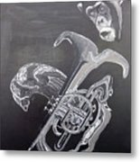 Monkey Playing Tuba Metal Print