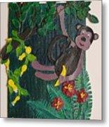 Monkey Swing And Snack Metal Print