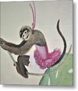 Monkey Swinging In The Trees Metal Print