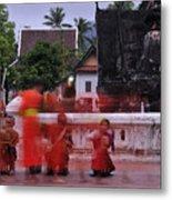 Monks At Luang Prabang Laos Metal Print