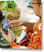 Monks Blessing Buddhist Wedding Ring Ceremony In Cambodia Asia Metal Print